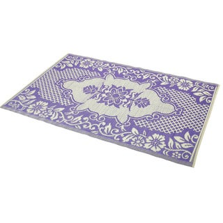 Reversible Purple/ Ivory Indoor/ Outdoor Area Rug (6' x 4')