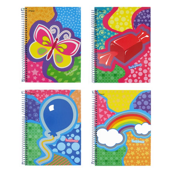 Mead Quad Fun & Dreams Assorted Subject Spiral Notebooks (Pack of 4)