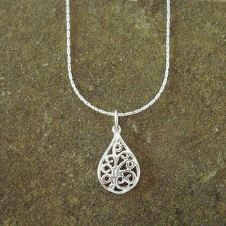 Jewelry by Dawn Sterling Silver Chain Necklace with Small Filigree Teardrop