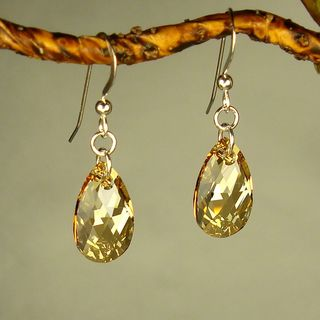 Jewelry by Dawn Golden Shadow  Pear Sterling Silver Earrings