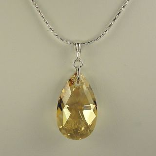 Jewelry by Dawn Large Golden Shadow Pear Sterling Silver Boxed Chain Necklace