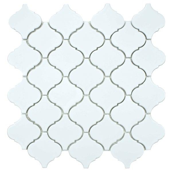 SomerTile 12.5x12.5-inch Morocco Matte White Porcelain Mosaic Tiles (Set of 10)