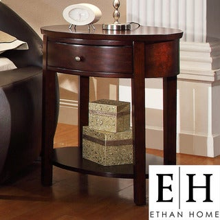 ETHAN HOME Neo Oval Espresso Accent Table Nightstand