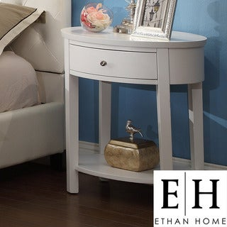 ETHAN HOME Neo Oval White Accent Table Nightstand