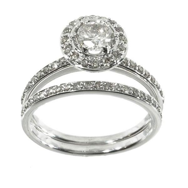 14k White Gold 1ct TDW Diamond Halo Bridal Ring Set (K-L, I1-I2)