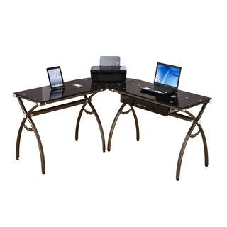 Loft Chic L-shape Tempered Glass Computer Workstation Desk