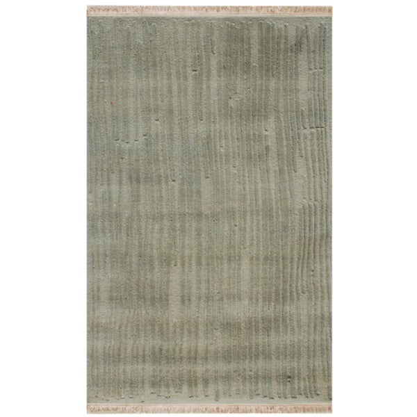 Hand-knotted Abstract Medium Blue Wool Rug (5' x 8')