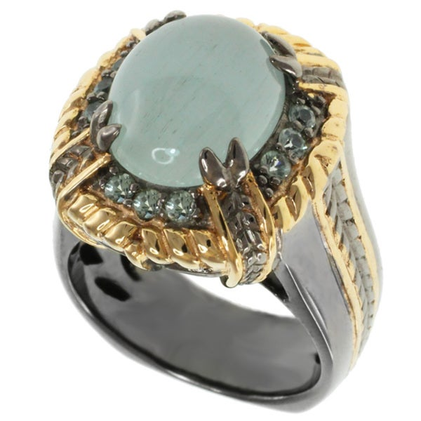 Michael Valitutti Milky Aquamarine and Green Sapphire Ring