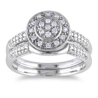 Haylee Jewels Sterling Silver 1/6ct TDW Diamond Bridal Halo Ring Set (H-I, I2-I3)