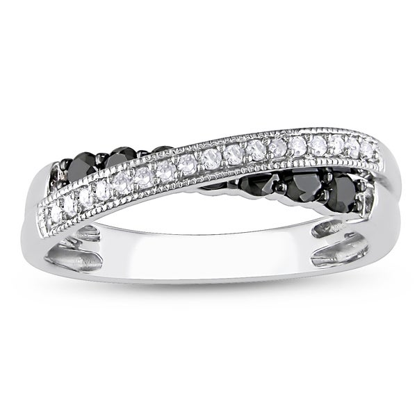 Miadora 10k Gold 1/5ct TDW Black and White Diamond Ring (H-I, I2-I3)