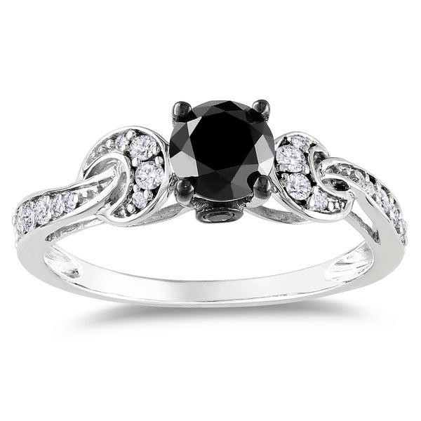 Miadora 14k White Gold 1ct TDW Black-and-white Prong-set Diamond Ring (G-H, I1-I2)