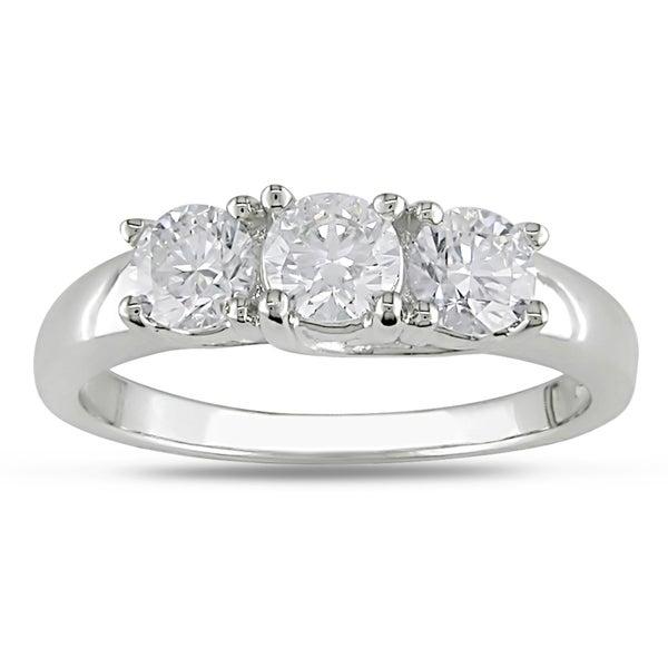 Miadora 10k White Gold 1ct TDW Diamond 3-stone Ring (H-I, I2-I3)