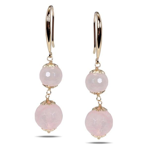 Miadora Rose-plated Silver Rose Quartz Earrings