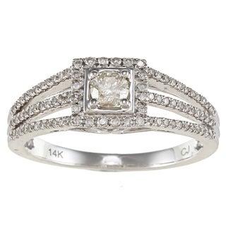 14k White Gold 1/2ct TDW White Diamond Split-shank Engagement Ring (IJ, I1-I2)
