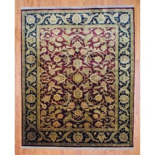 Indo Hand-Knotted Traditional Burgundy/Black Mahal Wool Rug (8' x 10')