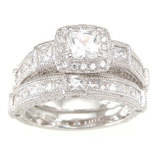 Sterling Silver Princess Cubic Zirconia Antique Bridal-style Ring Set