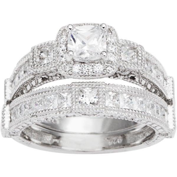 Sterling Silver TGW 1 1/2 carat Princess Cubic Zirconia Antique Bridal-style Ring Set