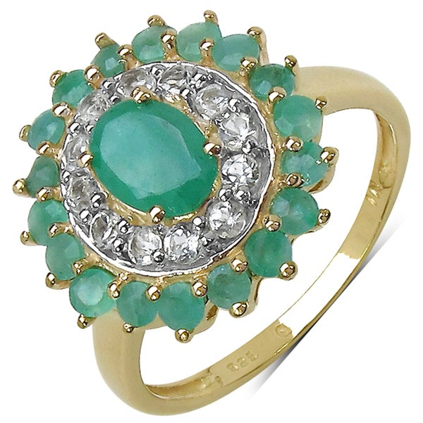 Malaika 14k Yellow Gold over Silver 2 1/8ct TGW Emerald and White Topaz Ring