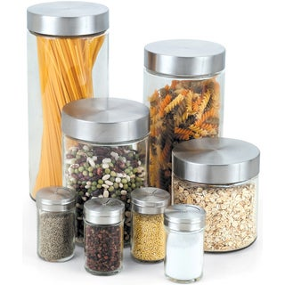 Cook N Home 8-Piece Glass Canister Spice Jar Set