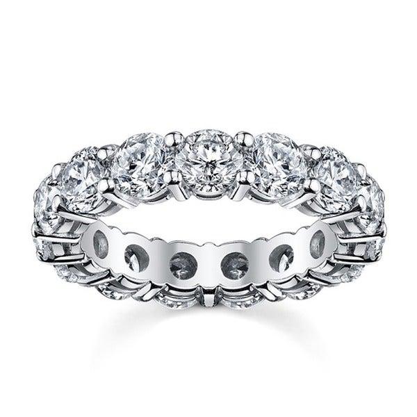14k White Gold 3 3/4 to 4 1/4ct TDW Diamond Eternity Wedding Band (H-I, SI1-SI2)