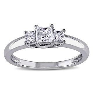 Miadora 14k White Gold 1/2ct TDW Diamond Three-stone Ring (G-H, I1-I2)