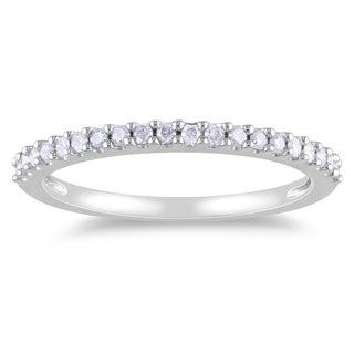 Miadora 10k White Gold 1/5ct TDW Diamond Eternity Wedding Band Ring