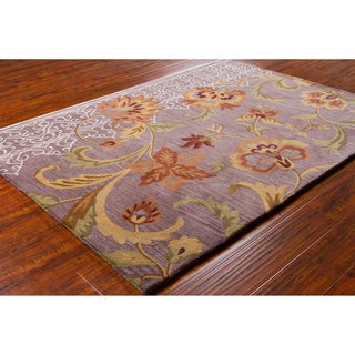Mandara Hand-tufted Floral Purple Wool Rug