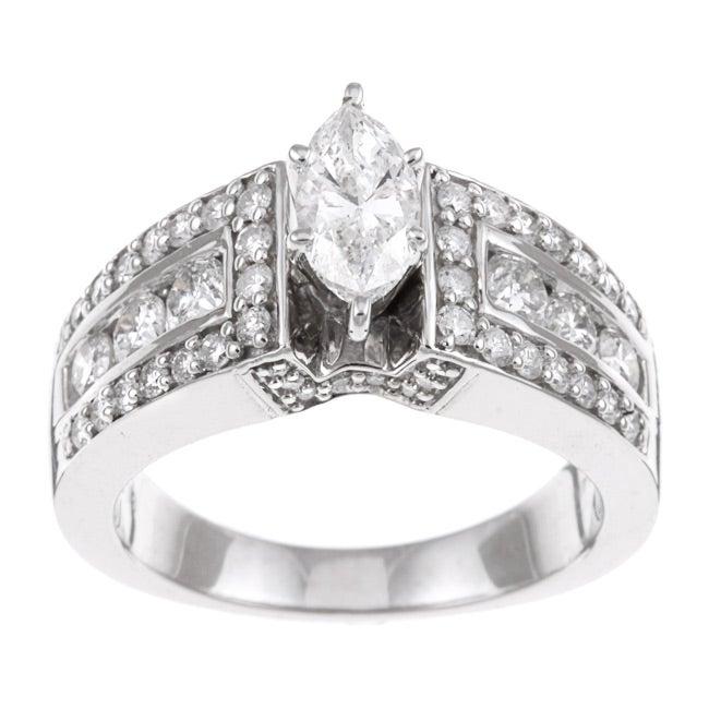 Eloquence 14k White Gold 1 1/2ct TDW Diamond Engagement Ring (H-I, I1-I2)