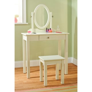 Simple Living Vanity Table with Mirror and Stool 3-piece Set