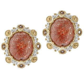 Michael Valitutti Two-tone Sunstone and Chocolate Zircon Earrings
