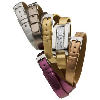 Vernier Ladies 5 Interchangeable Double Wrap Metallic Straps Watch
