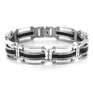 West Coast Jewelry Blackplated Stainless Steel Striped Men's Bracelet