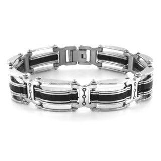 Crucible Blackplated Stainless Steel Striped Men's Bracelet