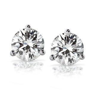 14k White Gold 2ct TDW Certified Round Diamond Stud Earrings (GH/SI3-I1)