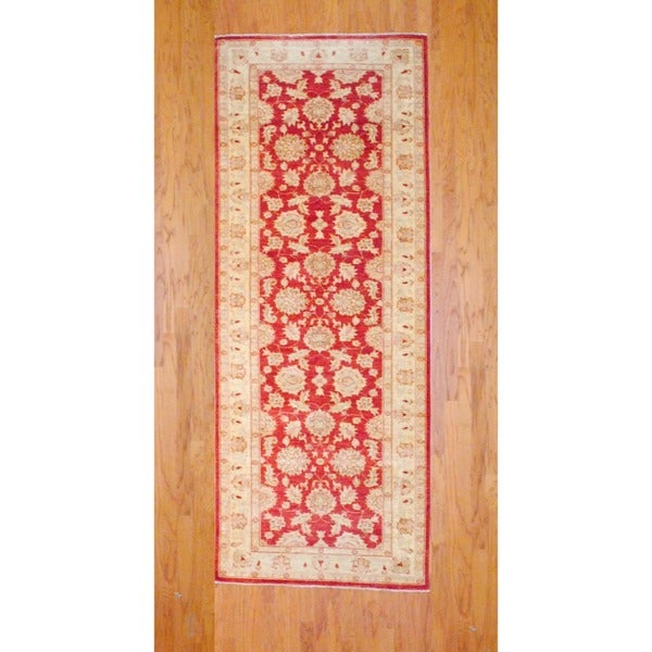 Afghan Hand-knotted Rust/ Ivory Vegetable Dye Wool Runner (4'1 x 10'6)