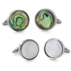 Crucible Stainless Steel White Mother of Pearl Inlay Round Cuff Links