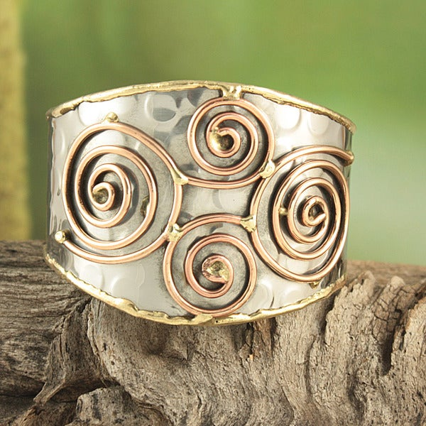 Handcrafted Hammered Brass and Copper Swirls Cuff Bracelet (India)