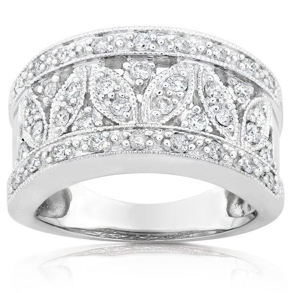 Annello 14k White Gold 1/2ct TDW Diamond Floral Anniversary Ring (H-I, I1-I2)