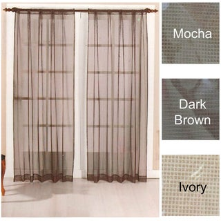 Brielle Home Mesh Rod Pocket Sheer Curtain Panel Pair