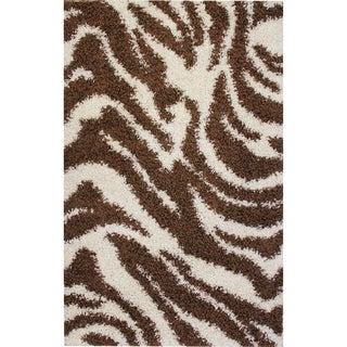 Shag Plush Zebra Brown Rug (5 x 7'2)