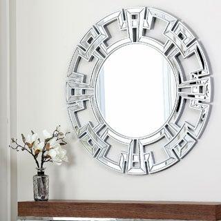 ABBYSON LIVING Pierre Silver Round Wall Mirror