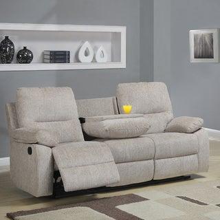 Tribecca Home Corbridge Light Beige Chenille Double Recliner Sofa