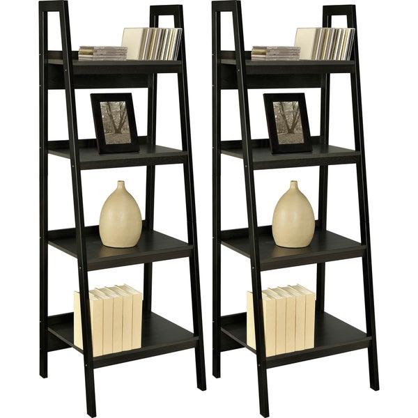 Altra Black Ladder Frame Bookcases (Set of 2)