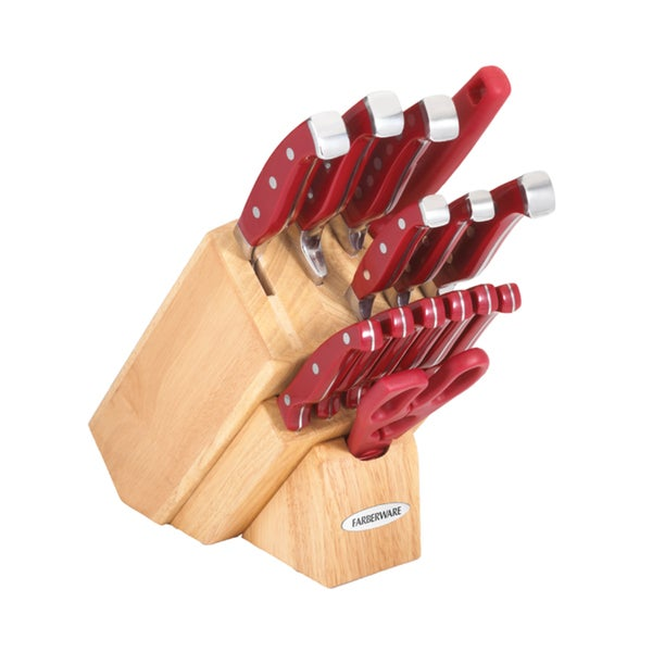Farberware 15-piece Forged Natural Knife Block Set with Bonus Poly Cutting Board
