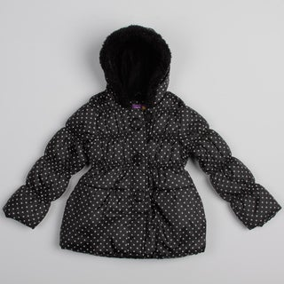 Pink Platinum Girls' Polka Dot Puffer Jacket