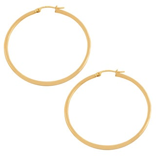 Fremada 14k Yellow Gold 2x50-mm Polished Tube Hoop Earrings
