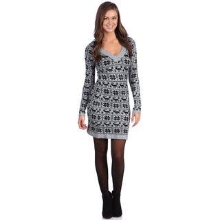White Mark Women's 'Denver' Grey/ Black Sweater Dress