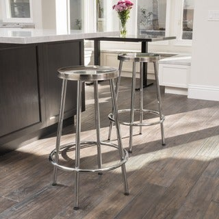 Christopher Knight Home Mayworth Chrome Barstools (Set of 2)