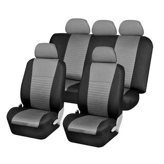 FH Group Trendy Elegance Gray Car Seat Covers Full Set