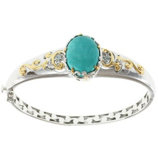 Michael Valitutti Two-tone Kingman Turquoise Hinged Bangle